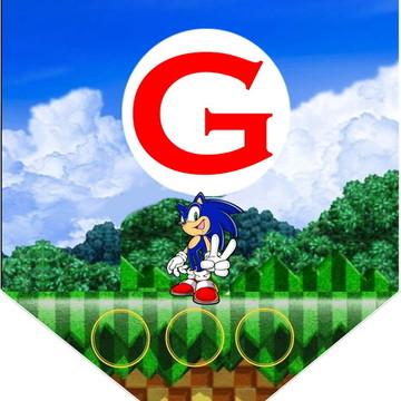 faixa com PARABENS + nome tema Sonic
