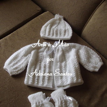 Conjunto tricô para bebê