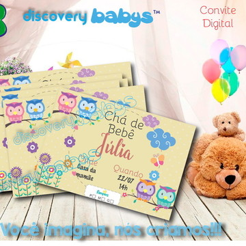 Convite Digital Chá de bebê Coruja