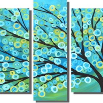 92d43352a635a Quadro Arvore Azul Turquesa Decorativo 5 Pecas
