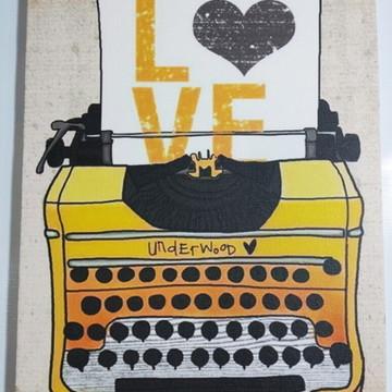 Quadro maquina de escrever vintage retrô