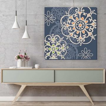 Quadro Pintura em Tela Mandala c/Renda 70x70cm