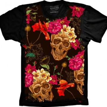 Camiseta Caveira Flores