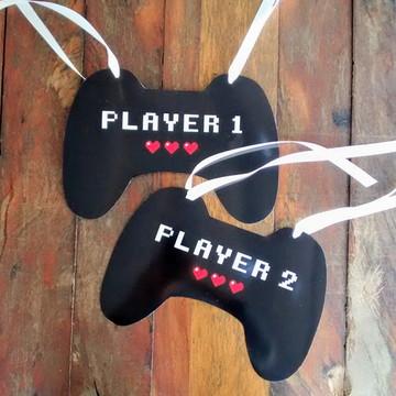 Plaquinhas para Cadeira dos Noivos Player 1 e Player 2