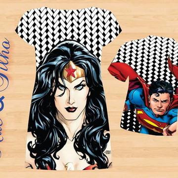 Mãe e Filho Mulher maravilha e Super Man