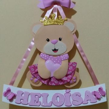 Placa de porta ursinha princesa