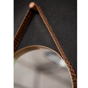 Espelho 55cm. alça couro nat.marrom