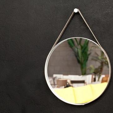 Espelho 60cm diam. alça Couro Natural