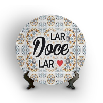 Prato Porcelana Decorativo Lar Doce Lar