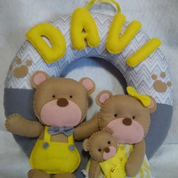 Enfeite Porta Maternidade Família Urso c