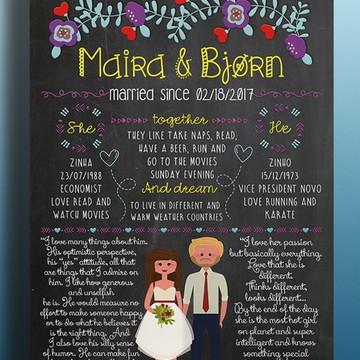 Chalkboard Casamento Pôster A3 ou A4