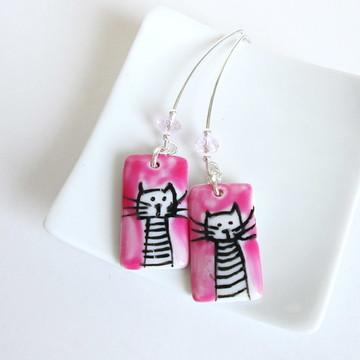 Brincos de Prata - Gato Pink