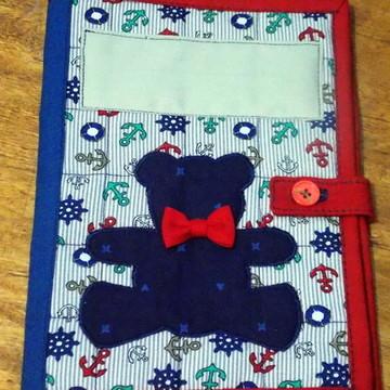 Capa de Caderneta de Vacinação em tecido - ursinho