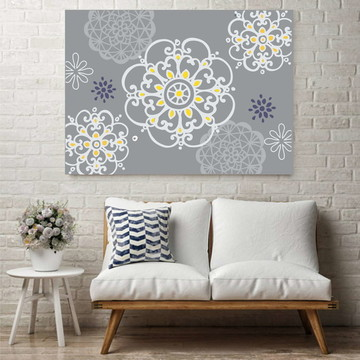 Quadro Pintura em Tela Mandala Cinza Amarela 1,00X0,70m