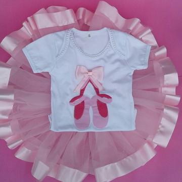 Fantasia Infantil com saia tutu bailarina