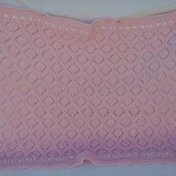 Manta para Bebe de Fio de Lã trico à mão