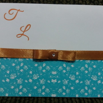 Convite Casamento Azul Tiffany e Dourado