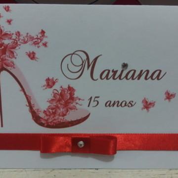 Convite 15 anos - Debutante Vermelho
