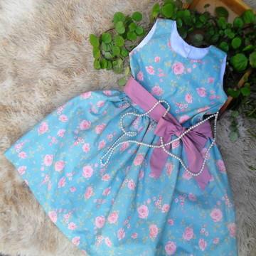 Vestido Infantil Menina Azul Floral 7/8