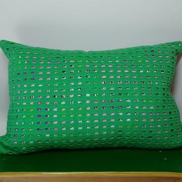 Capa de almofada de crochê - Verde