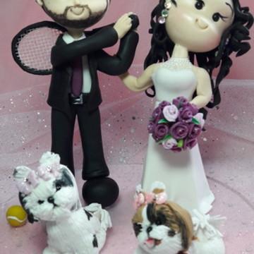 Topo de bolo casamento com PET