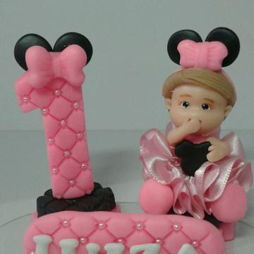 Topo de bolo minie rosa de biscuit