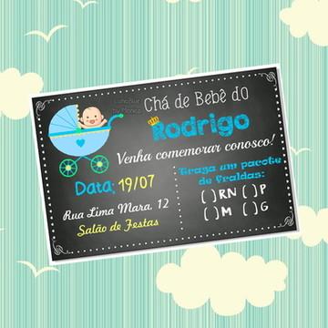 Convite Chá de Bebê - Carrinho - Arte