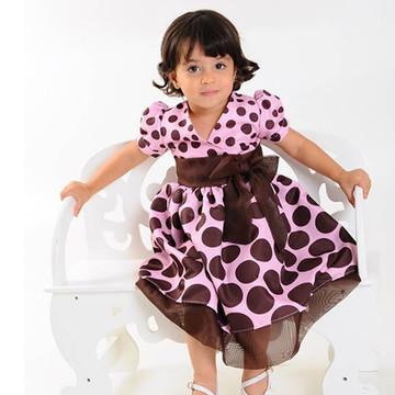 f280830774 Vestido Rosa com Marrom