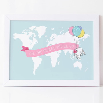 Quadro Mapa Mundi Infantil Balões