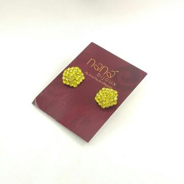 Brinco Dourado Hexágono com strass - Amarelo