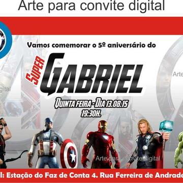 Arte Convite Digital Os Vingadores