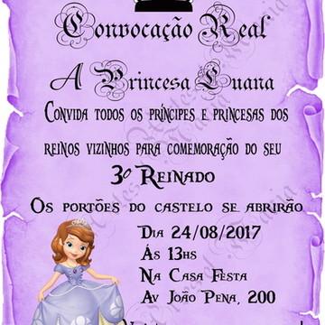 Convite Digital Pergaminho Lilás P.Sofia