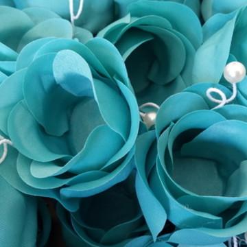 Forminha Azul Tiffany com pérolas