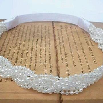 Valentinna Headband Trançado de Pérolas