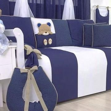 Kit Cama Babá Ursinho 3d Azul Marinho