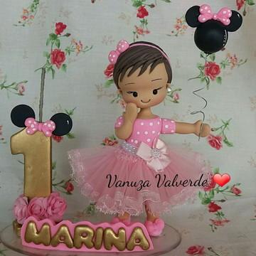 Topo de bolo Minnie rosa e dourado