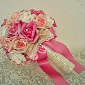 Buque de Noiva Médio Tons de rosa
