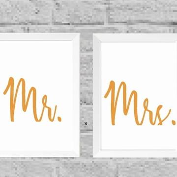 Kit quadros Mrs. e Mr