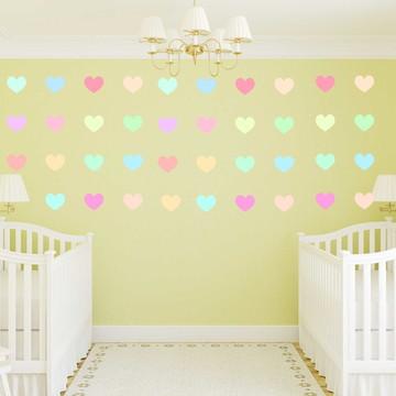 Mini Adesivos Corações Coloridos