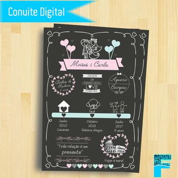 Convite Chalkboard Bodas de Casamento