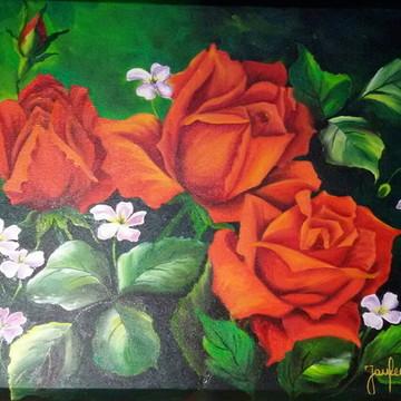 Pintura em Tela - Flores Vermelhas