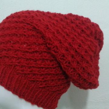 9e5675c135264 Touca de Trico Vermelha com Branca