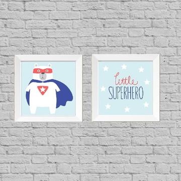 Kit quadro infantil little superhero