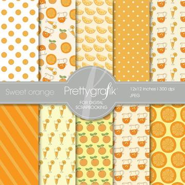 Kit Papel Digital laranja