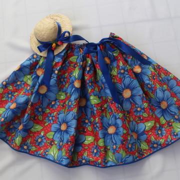 Saia/Tiara Junina Floral Vermelha/Azul Adulto