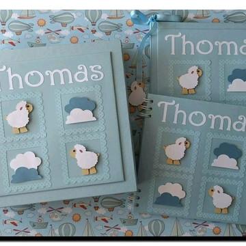 Livro do Bebê personalizado para menino ovelhinha azul