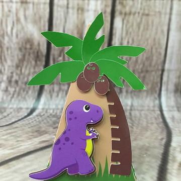 Caixa Cone Dinossauro com Coqueiro