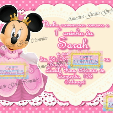 Convite Minnie Mouse Princesa p Imprimir