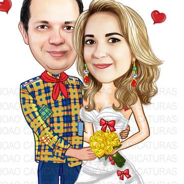 Caricatura noiva caipira muito bonita casal junino