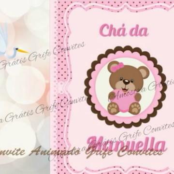 Convite Animado Chá de Bebê Ursinha Rosa Marrom